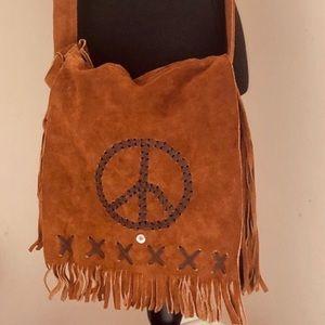 ☮️ Peace Sign Suede Cross Body Purse Hippie Boho
